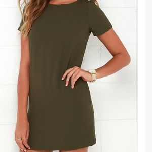 Lulu's olive green shirt dress